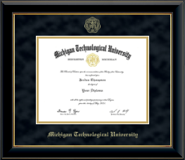 Michigan Technological University Diploma Frame - Gold Embossed Diploma Frame in Onyx Gold