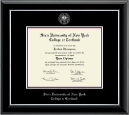 State University of New York Cortland Diploma Frame - Silver Embossed Diploma Frame in Onyx Silver
