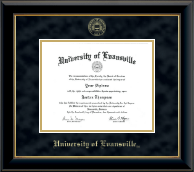 University of Evansville Diploma Frame - Gold Embossed Diploma Frame in Onyx Gold