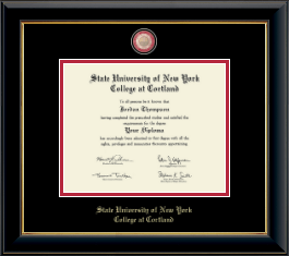 State University of New York Cortland Diploma Frame - Masterpiece Medallion Diploma Frame in Onyx Gold