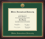 Webber International University Diploma Frame - Gold Engraved Medallion Diploma Frame in Regency Gold
