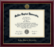 Dallas Baptist University Diploma Frame - Gold Engraved Medallion Diploma Frame in Gallery