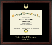 University of Wisconsin Green Bay Diploma Frame - Gold Embossed Diploma Frame in Studio Gold