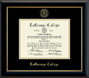 LaGrange College Diploma Frame - Gold Embossed Diploma Frame in Onyx Gold