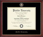 Pfeiffer University Diploma Frame - Masterpiece Medallion Diploma Frame in Kensington Gold