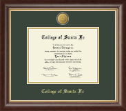 College of Santa Fe Diploma Frame - 23K Medallion Diploma Frame in Hampshire