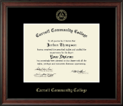 Carroll Community College Diploma Frame - Gold Embossed Diploma Frame in Studio