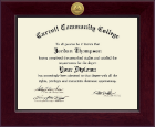 Carroll Community College Diploma Frame - Century Gold Engraved Diploma Frame in Cordova