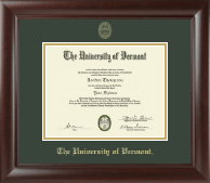 The University of Vermont Diploma Frame - Gold Embossed Diploma Frame in Rainier