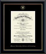 Missouri University of Science and Technology Diploma Frame - Gold Embossed Diploma Frame in Onyx Gold