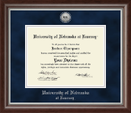 University of Nebraska Kearney Diploma Frame - Silver Engraved Medallion Diploma Frame in Devonshire