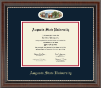 Augusta State University Diploma Frame - Campus Cameo Diploma Frame - Navy/Red Mat in Chateau