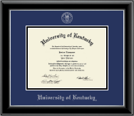University of Kentucky Diploma Frame - Silver Embossed Diploma Frame in Onyx Silver