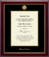 State of Texas Certificate Frame - Gold Engraved Medallion Certificate Frame in Gallery