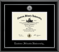 Eastern Illinois University Diploma Frame - Silver Engraved Medallion Diploma Frame in Onyx Silver