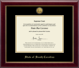 State of South Carolina Certificate Frame - Gold Engraved Medallion Certificate Frame in Gallery