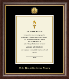 Delta Mu Delta Certificate Frame - Gold Engraved Medallion Proclamation Frame in Hampshire