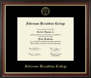 Alderson-Broaddus College Diploma Frame - Gold Embossed Diploma Frame in Studio Gold