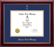 Alpha Tau Omega Fraternity Certificate Frame - Embossed Certificate Frame in Gallery