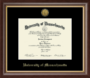 University of Massachusetts Amherst Diploma Frame - Gold Engraved Medallion Diploma Frame in Hampshire