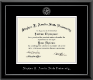 Stephen F. Austin State University Diploma Frame - Silver Embossed Diploma Frame in Onyx Silver