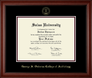 Salus University - George S. Osborne College of Audiology Diploma Frame - Gold Embossed Diploma Frame in Cambridge