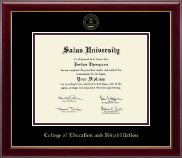 Salus University College of Education and Rehabilitation Diploma Frame - Gold Embossed Diploma Frame in Gallery