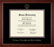 Salus University College of Education and Rehabilitation Diploma Frame - Gold Embossed Diploma Frame in Cambridge