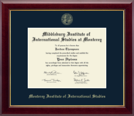 Middlebury College Diploma Frame - Gold Embossed Diploma Frame in Gallery
