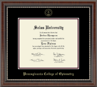 Pennsylvania College of Optometry Diploma Frame - Gold Embossed Diploma Frame in Chateau