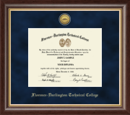 Florence-Darlington Technical College Diploma Frame - Gold Engraved Medallion Diploma Frame in Hampshire