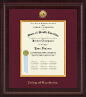 College of Charleston Diploma Frame - Presidential Gold Engraved Diploma Frame in Premier