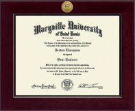 Maryville University of St. Louis Diploma Frame - Century Gold Engraved Diploma Frame in Cordova
