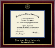 Louisiana State University School of Medicine Diploma Frame - Gold Embossed Diploma Frame in Gallery