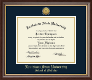 Louisiana State University School of Medicine Diploma Frame - Gold Engraved Medallion Diploma Frame in Hampshire
