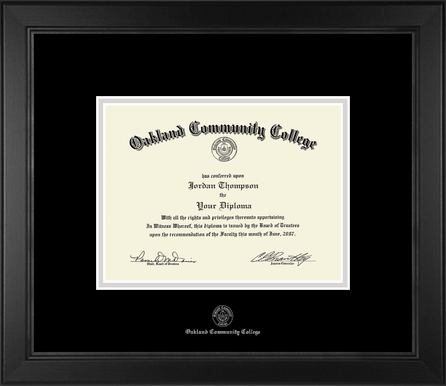 Oakland Community College Silver Embossed Diploma Frame In