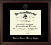 United States Marine Corps Certificate Frame - US Marines Honorable Discharge Certificate Frame in Studio Gold
