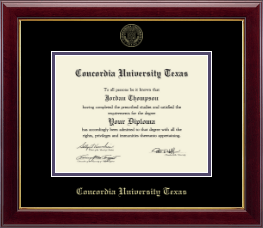 Concordia University Texas Diploma Frame - Gold Embossed Diploma Frame in Gallery