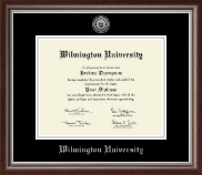 Wilmington University Diploma Frame - Silver Engraved Medallion Diploma Frame in Devonshire
