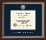 University of Dubuque Diploma Frame - Silver Engraved Medallion Diploma Frame in Devonshire