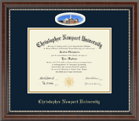 Christopher Newport University Diploma Frame - Campus Cameo Diploma Frame in Chateau