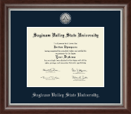 Saginaw Valley State University Diploma Frame - Silver Engraved Medallion Diploma Frame in Devonshire