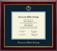 Nazarene Bible College Diploma Frame - Gold Embossed Diploma Frame in Gallery