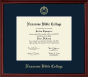 Nazarene Bible College Diploma Frame - Gold Embossed Diploma Frame in Camby
