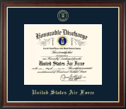 United States Air Force Certificate Frame - US Air Force Honorable Discharge Certificate Frame in Studio Gold