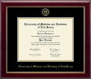 University of Medicine and Dentistry of New Jersey Diploma Frame - Gold Embossed Diploma Frame in Gallery
