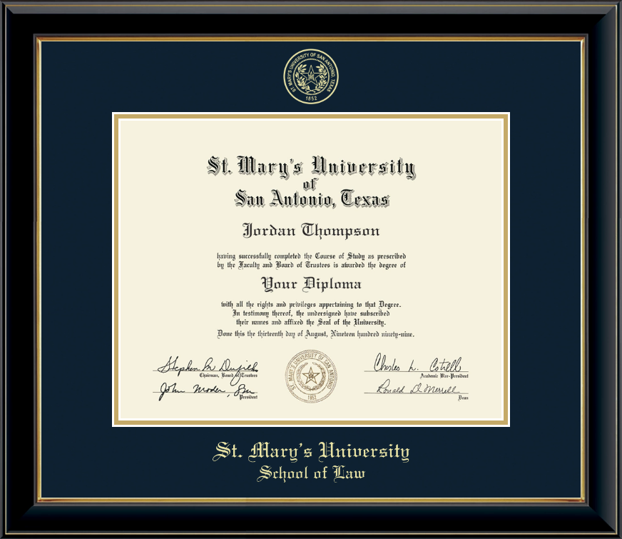 St. Mary's University Gold Embosssed Diploma Frame in Onyx Gold - Item #200469 from St. Mary's ...