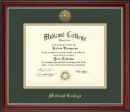 Midland College Diploma Frame - Gold Engraved Diploma Frame in Kensington Gold
