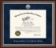 Supreme Court of the United States Certificate Frame - Silver Engraved Medallion Certificate Frame in Devonshire