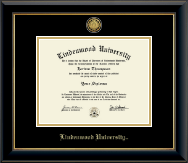 Lindenwood University Diploma Frame - Gold Engraved Diploma Frame in Onyx Gold
